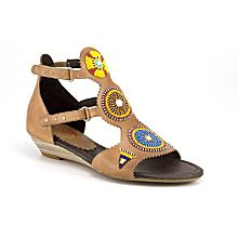 Handcrafted Maasai Beaded Wedge Sandals