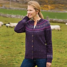 Women's Heathered Fair Isle Cardigan