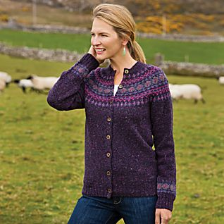 View Heathered Fair Isle Cardigan image