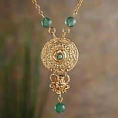 Italian Etruscan Verde Necklace