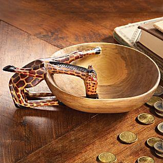 Kenyan Olive-wood Giraffe Bowl