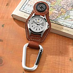 Bison Leather Clip Watch