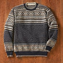 Men's Blue Night Alpaca Sweater, Made in Bolivia