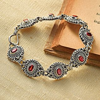 View Temple Flower Garnet Bracelet image