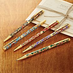 Handcrafted Set of 5 Cloisonné Pens