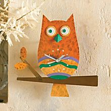 Hand-Painted Colombian Owl Wall Clock