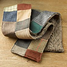 Irish Donegal Tweed Patchwork Scarf, Crafted in Ireland