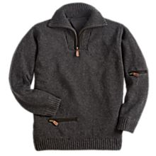 Men's Scottish Wind-Resistant Wool 1/4 Zip Pullover Sweater