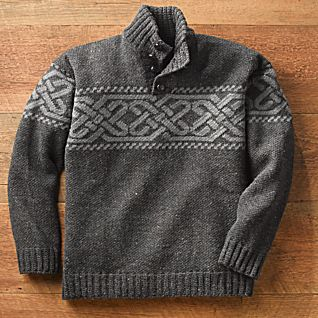View Charcoal Irish Celtic Wool Pullover image