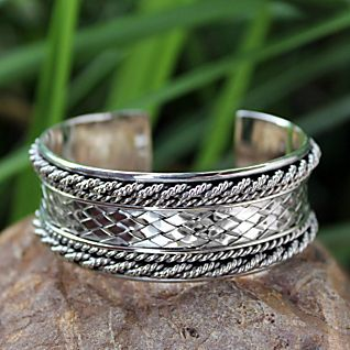 View Sterling Silver Thai Hill Tribe Cuff Bracelet image