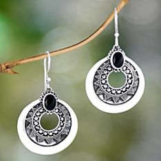Handcrafted Balinese Timiang Sterling Silver and Onyx Earrings