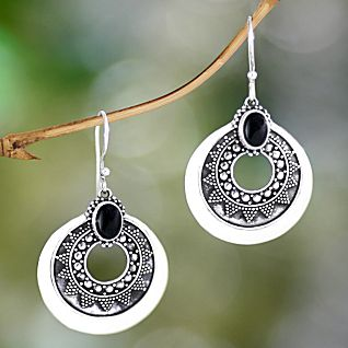 View Balinese Timiang Sterling Silver and Onyx Earrings image