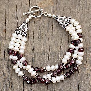 View Pearl and Garnet Indian Bracelet image