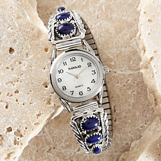 View Navajo Faux Lapis and Sterling Silver Watch image