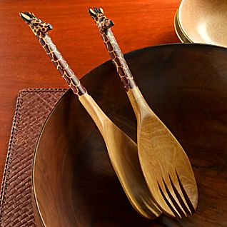 Kenyan Olive-wood Giraffe Salad Servers