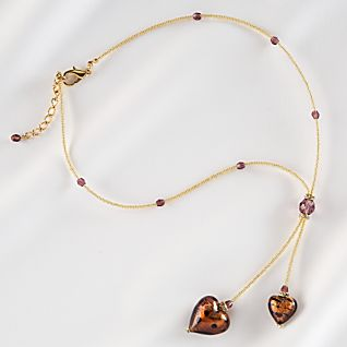 View Venetian Blown Glass Heart Necklace image