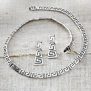 View Sterling Silver Greek Key Earrings image