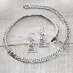 Handcrafted Sterling Silver Greek Key Necklace