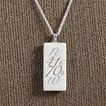 Handcrafted Personalized Longitude and Latitude Place Necklace