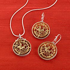 Tibetan Golden Snow Lion Coin Earrings