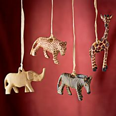 Wooden Kenyan Carved Olive-Wood Safari Animal Ornaments - Set of 4