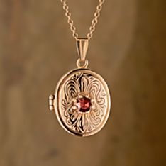 Handcrafted German Art Nouveau Garnet Locket
