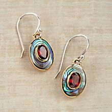 Handcrafted Balinese Abalone and Garnet Earrings