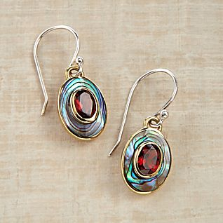 Balinese Abalone and Garnet Earrings