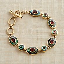 Handcrafted Balinese Abalone and Garnet Bracelet