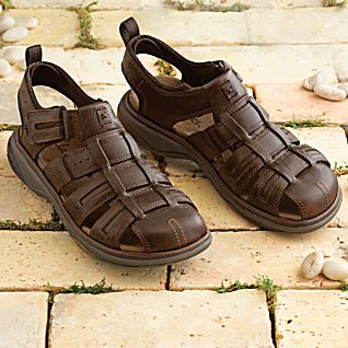 View Men's Lightweight Leather Touring Sandals image