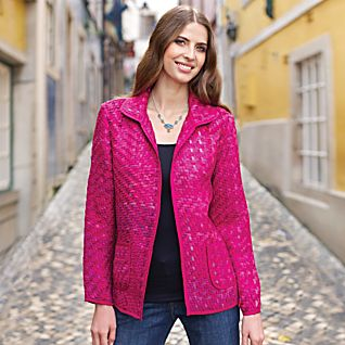 Silk Sari Basket-weave Jacket