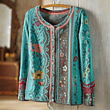 Women's Serbian Floral Cotton Cardigan