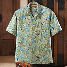 Imported Men's Cotton Hawaiian Palm Shirt