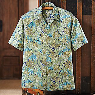 View Men's Cotton Hawaiian Palm Shirt image