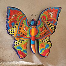 Handcrafted Talavera-Style Butterfly Wall Art