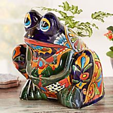 Handcrafted Talavera-Style Frog Planter