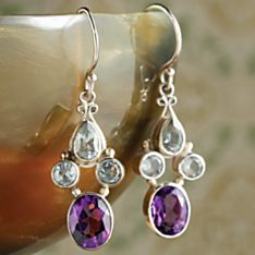 Indonesian Tanah Lot Topaz and Amethyst Earrings