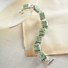 Handcrafted Guatemalan Jade and Sterling Silver Bracelet