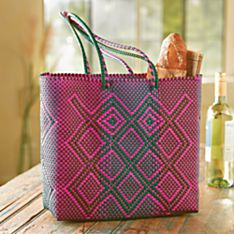 Oaxacan Handwoven Plastic Tote, Crafted in Mexico