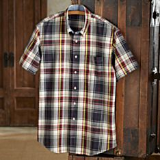 100% Cotton Madras Plaid Travel Shirt