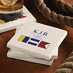 Personalized Nautical Flag Coasters - Set of 4