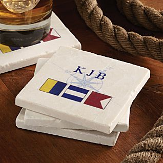 View Personalized Nautical Flag Coasters - Set of 4 image