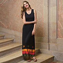 Women's Black Bandhani Sleeveless Dress
