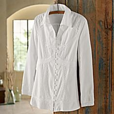 100% Cotton Lily of the Incas Button-Front Blouse