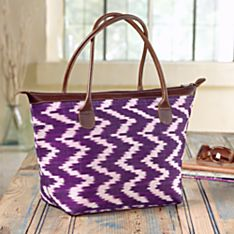 Hand-Woven Guatemalan Ikat and Leather Bag
