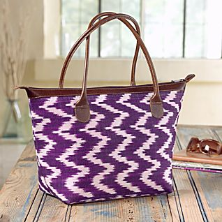View Guatemalan Ikat and Leather Bag image
