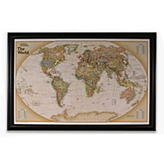 Personalized 'Light your Way' Customizable World Wall Map (Earth-Toned)