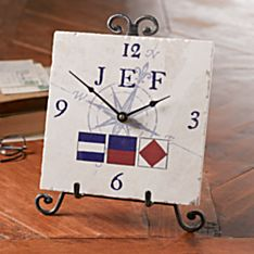 Personalized Nautical Flag Clock, Made in the USA