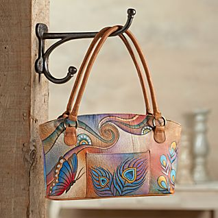 View Hand-painted Leather Peacock Tote image