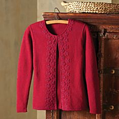 Red Cardigan Wool Sweater